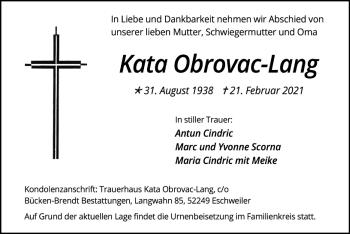 Traueranzeige von Kata Obrovac-Lang von Zeitung am Sonntag