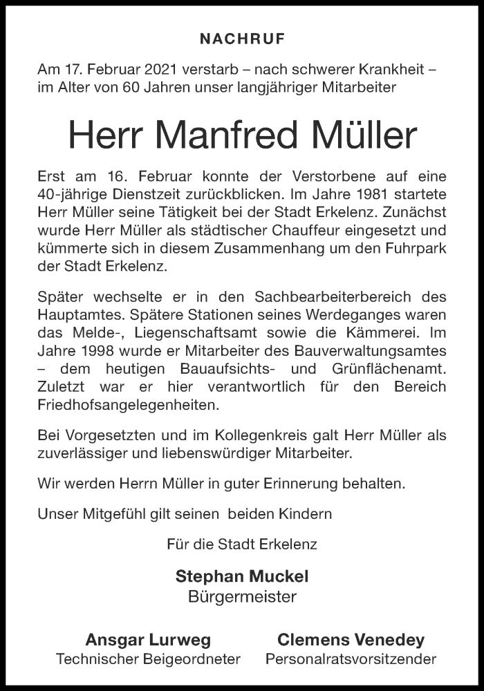 Traueranzeige für Manfred Müller vom 24.02.2021 aus Aachener Zeitung / Aachener Nachrichten