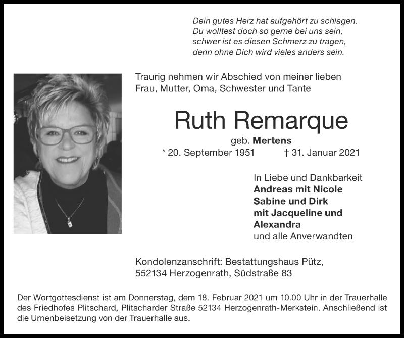 Traueranzeige für Ruth Remarque vom 14.02.2021 aus Zeitung am Sonntag