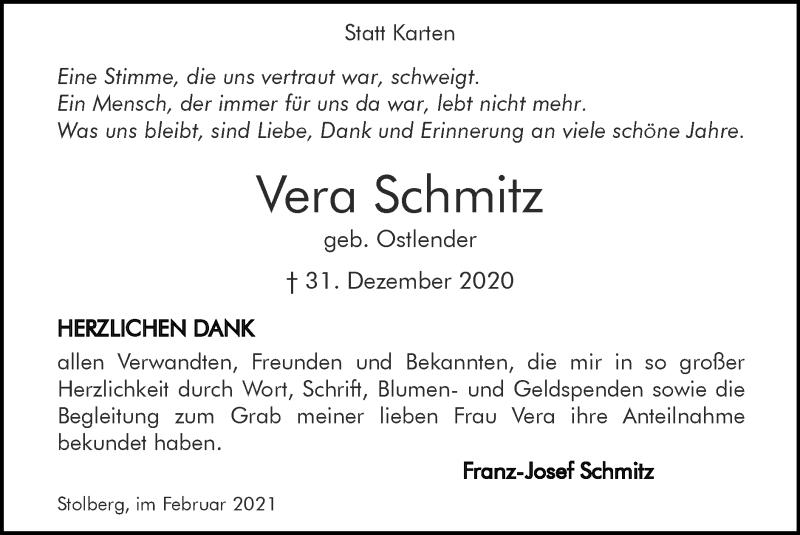 Traueranzeige für Vera Schmitz vom 14.02.2021 aus Zeitung am Sonntag