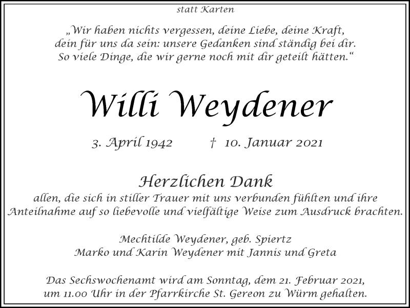 Traueranzeige für Willi Weydener vom 14.02.2021 aus Zeitung am Sonntag