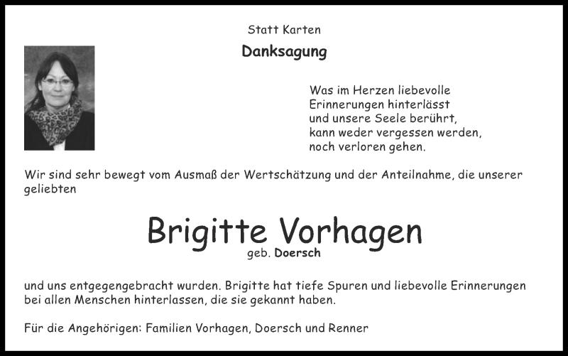 Traueranzeige für Brigitte Vorhagen vom 14.03.2021 aus Zeitung am Sonntag