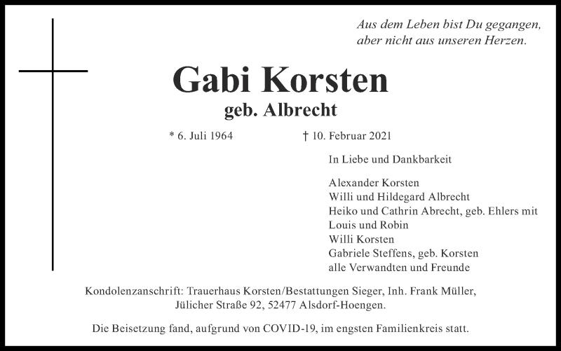 Traueranzeige für Gabi Korsten vom 07.03.2021 aus Zeitung am Sonntag