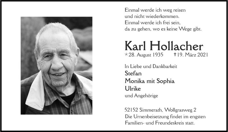 Traueranzeige für Karl Hollacher vom 27.03.2021 aus Aachener Zeitung / Aachener Nachrichten