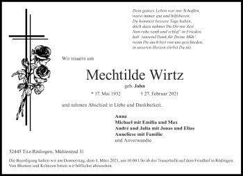 Traueranzeige von Mechtilde Wirtz von Aachener Zeitung / Aachener Nachrichten