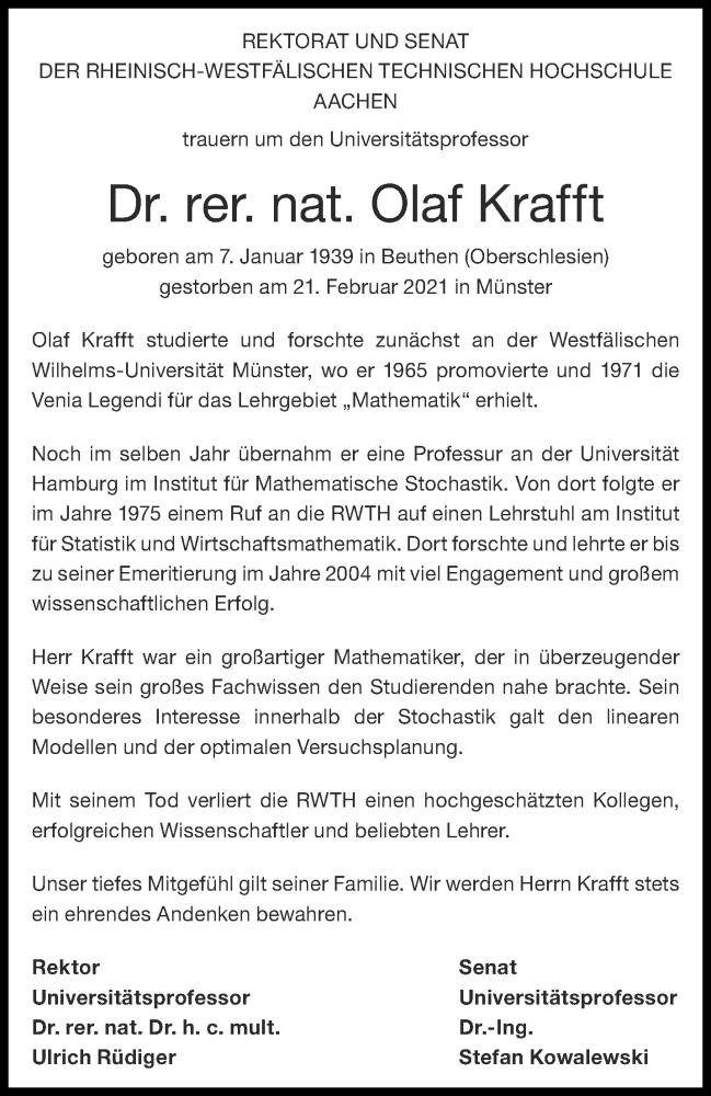 Traueranzeige für Olaf Krafft vom 13.03.2021 aus Aachener Zeitung / Aachener Nachrichten