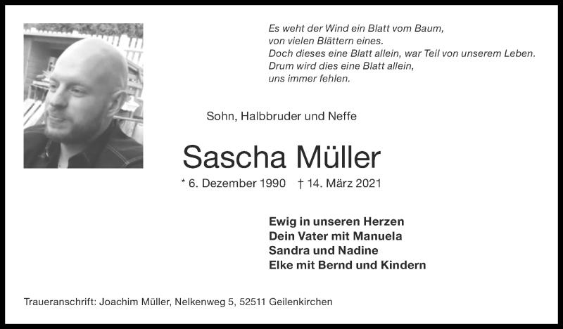 Traueranzeige für Sascha Müller vom 28.03.2021 aus Zeitung am Sonntag