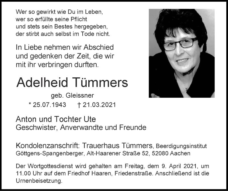 Traueranzeige für Adelheid Tümmers vom 04.04.2021 aus Zeitung am Sonntag