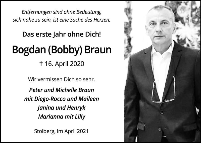 Traueranzeige für Bogdan Braun vom 18.04.2021 aus Zeitung am Sonntag