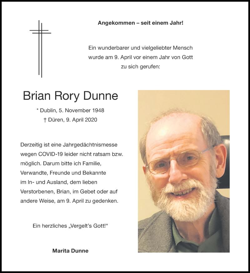 Traueranzeige für Brian Rory Dunne vom 04.04.2021 aus Zeitung am Sonntag