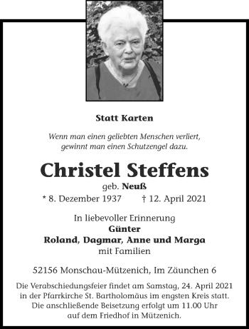 Traueranzeige von Christel Steffens von Aachener Zeitung / Aachener Nachrichten