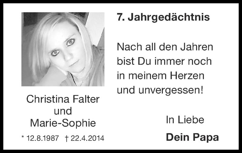 Traueranzeige für Christina Falter vom 18.04.2021 aus Zeitung am Sonntag