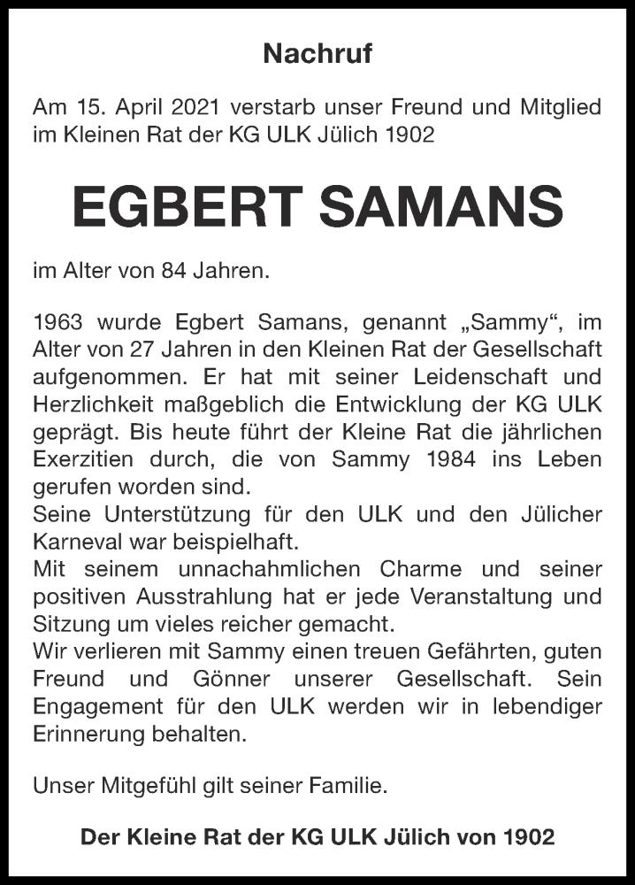 Traueranzeige für Egbert Samans vom 25.04.2021 aus Zeitung am Sonntag