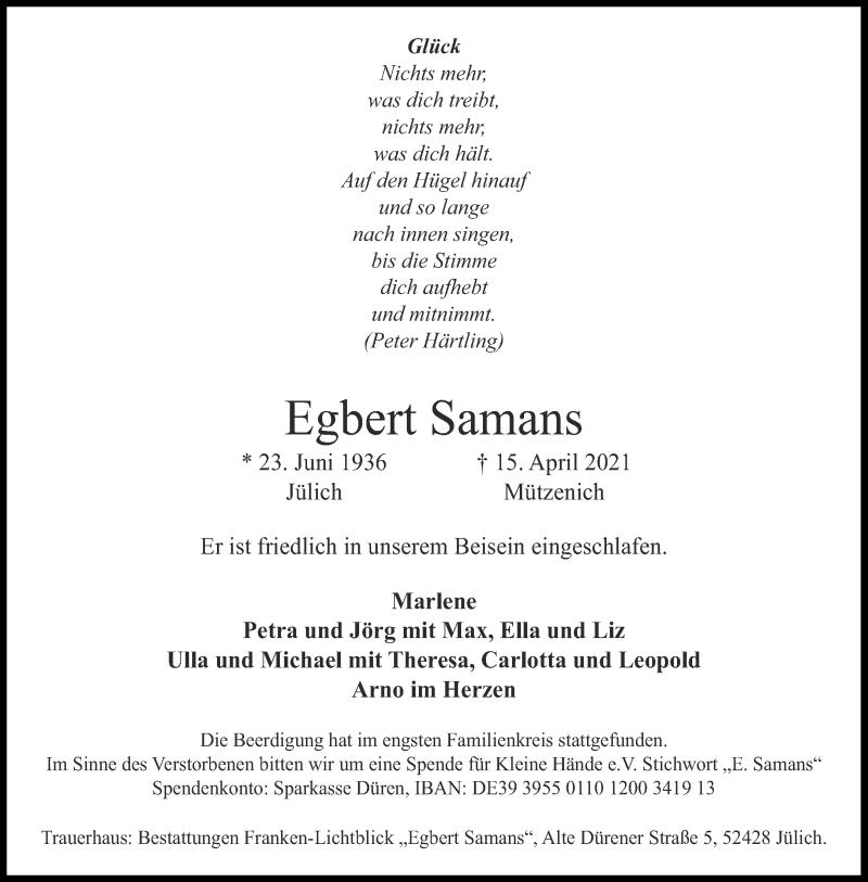 Traueranzeige für Egbert Samans vom 24.04.2021 aus Aachener Zeitung / Aachener Nachrichten