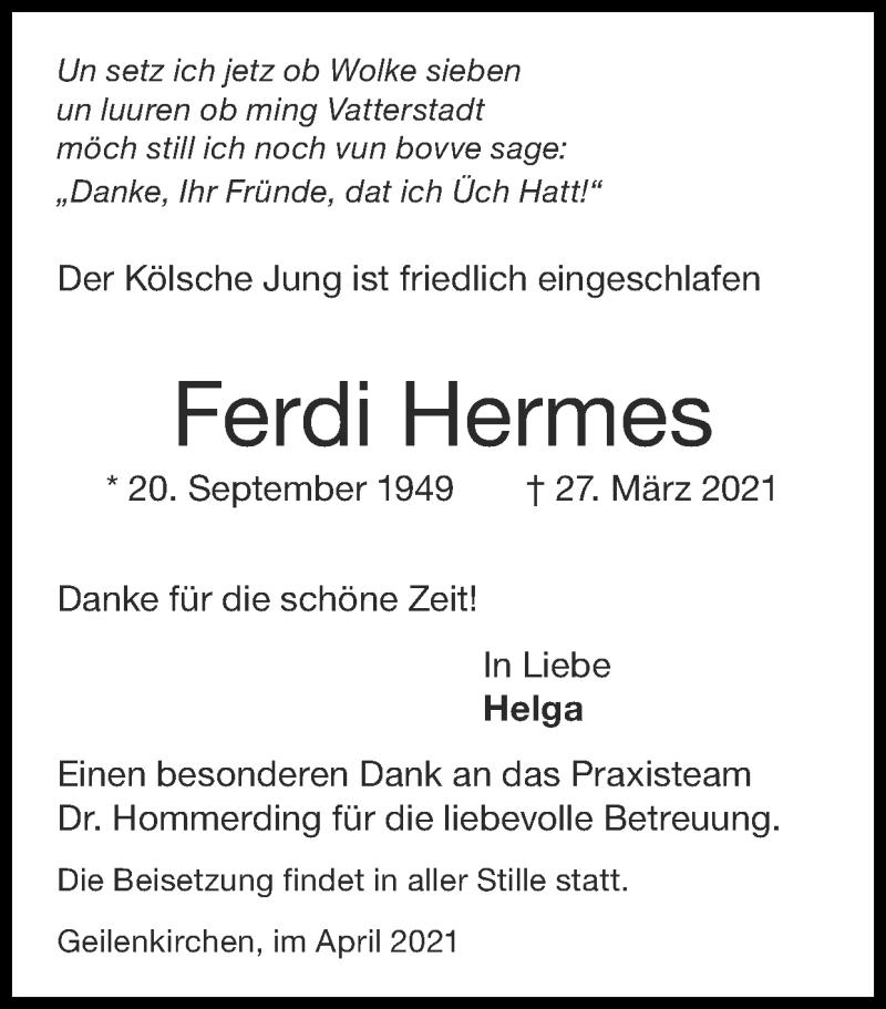 Traueranzeige für Ferdi Hermes vom 04.04.2021 aus Zeitung am Sonntag