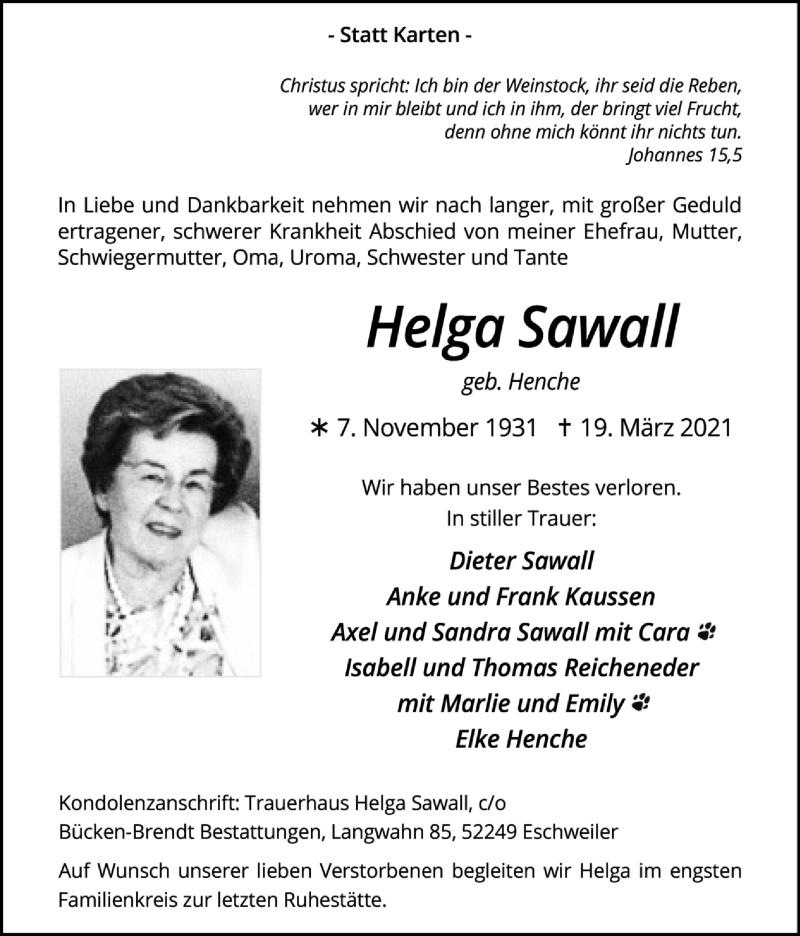 Traueranzeige für Helga Sawall vom 04.04.2021 aus Zeitung am Sonntag