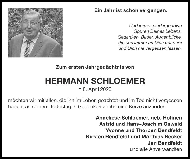 Traueranzeige für Hermann Schloemer vom 04.04.2021 aus Zeitung am Sonntag