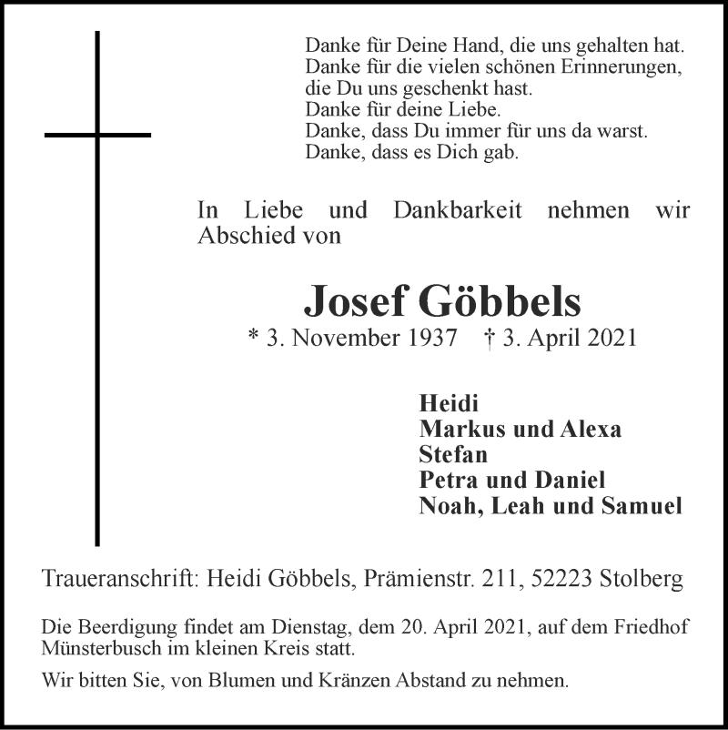 Traueranzeige für Josef Göbbels vom 18.04.2021 aus Zeitung am Sonntag