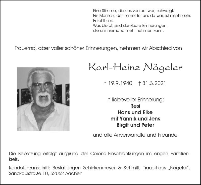 Traueranzeige für Karl-Heinz Nägeler vom 11.04.2021 aus Zeitung am Sonntag