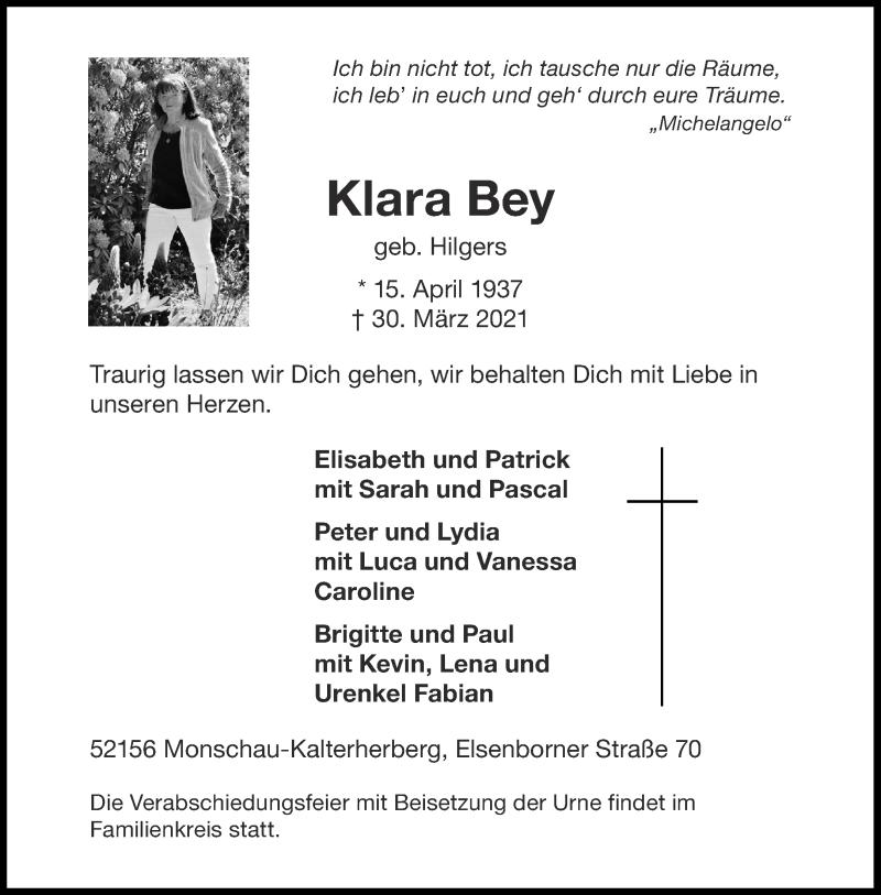 Traueranzeige für Klara Bey vom 07.04.2021 aus Aachener Zeitung / Aachener Nachrichten