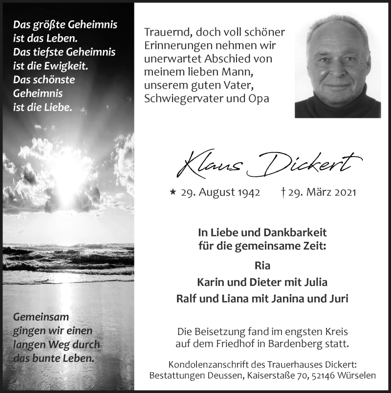 Traueranzeige für Klaus Dickert vom 11.04.2021 aus Zeitung am Sonntag