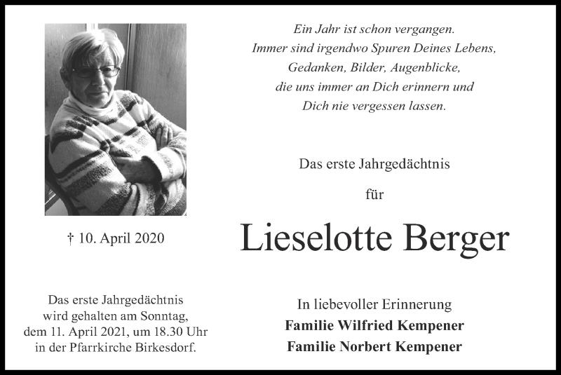 Traueranzeige für Lieselotte Berger vom 04.04.2021 aus Zeitung am Sonntag
