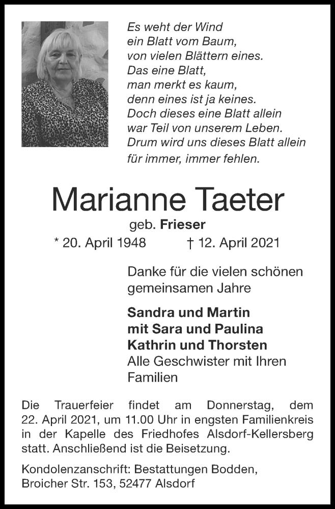 Traueranzeige für Marianne Taeter vom 18.04.2021 aus Zeitung am Sonntag