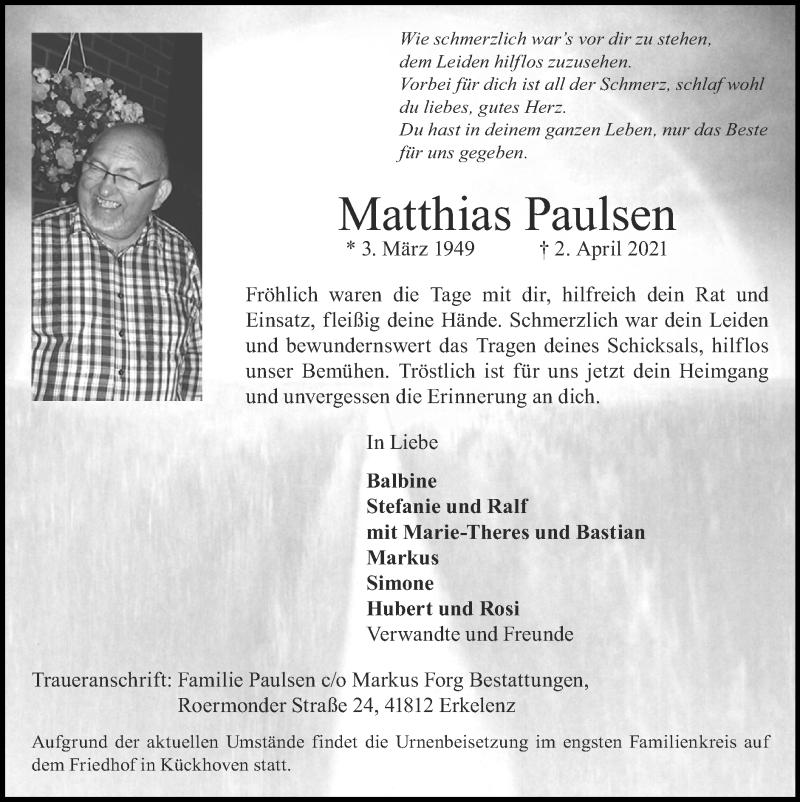 Traueranzeige für Matthias Paulsen vom 11.04.2021 aus Zeitung am Sonntag