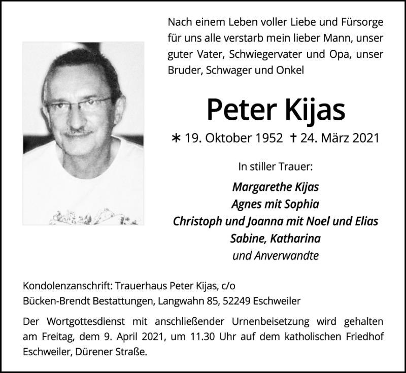 Traueranzeige für Peter Kijas vom 04.04.2021 aus Zeitung am Sonntag