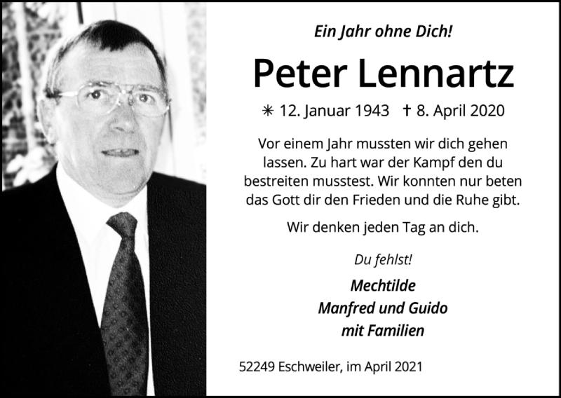 Traueranzeige für Peter Lennartz vom 18.04.2021 aus Zeitung am Sonntag