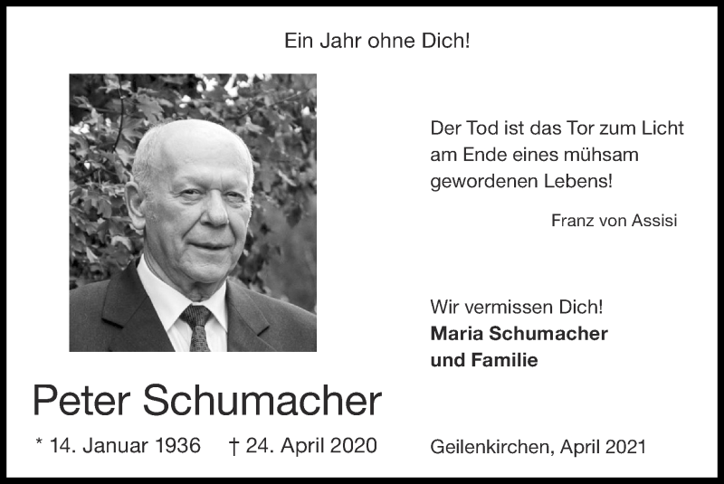 Traueranzeige für Peter Schumacher vom 25.04.2021 aus Zeitung am Sonntag