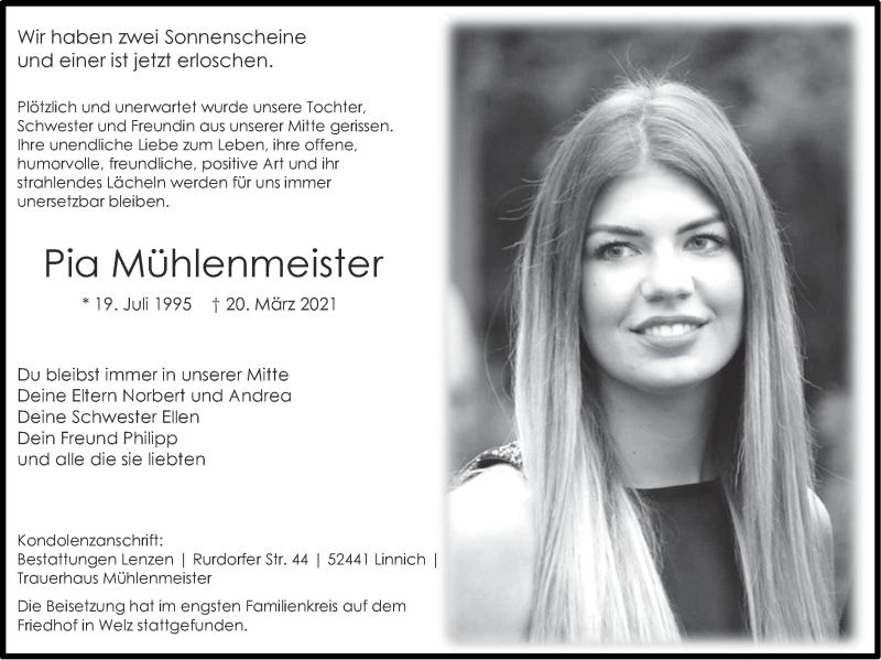 Traueranzeige für Pia Mühlenmeister vom 04.04.2021 aus Zeitung am Sonntag
