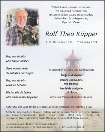 Traueranzeige von Rolf Theo Küpper von Zeitung am Sonntag