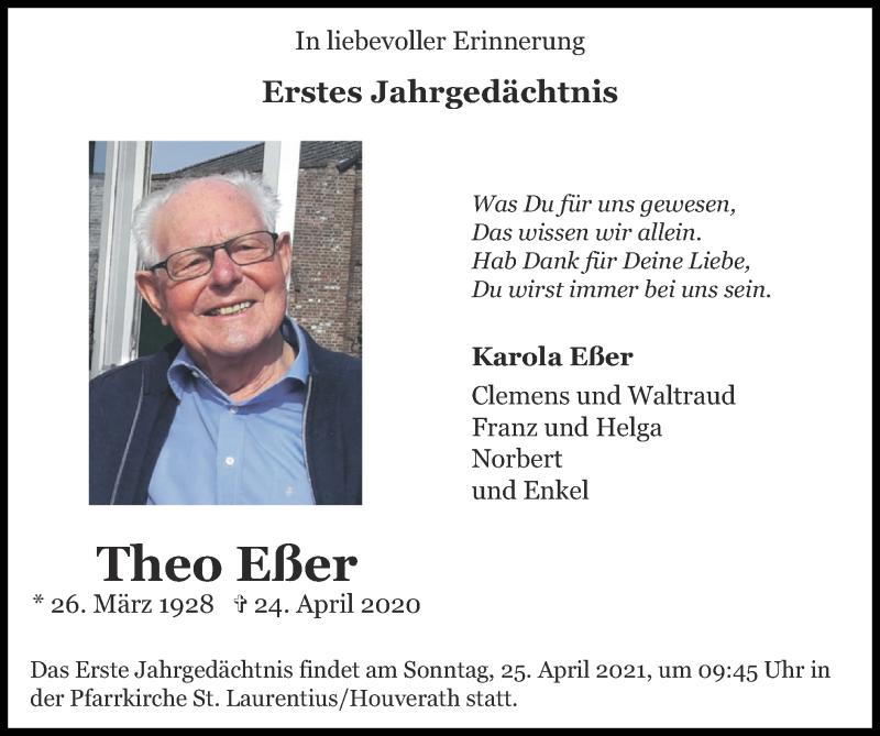 Traueranzeige für Theo Eßer vom 18.04.2021 aus Zeitung am Sonntag
