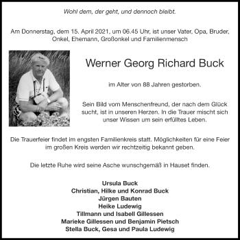 Traueranzeige von Werner Georg Richard Buck von Aachener Zeitung / Aachener Nachrichten