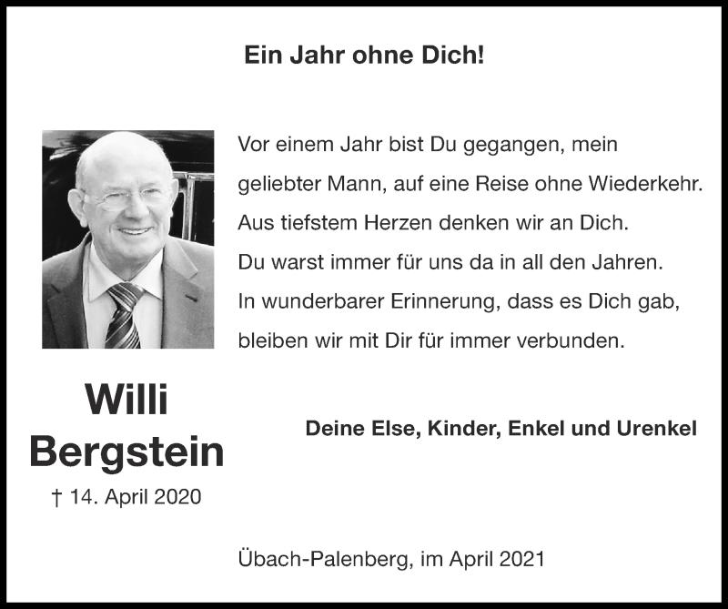 Traueranzeige für Willi Bergstein vom 11.04.2021 aus Zeitung am Sonntag