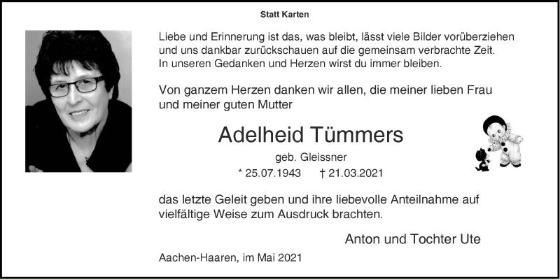 Traueranzeige für Adelheid Tümmers vom 02.05.2021 aus Zeitung am Sonntag