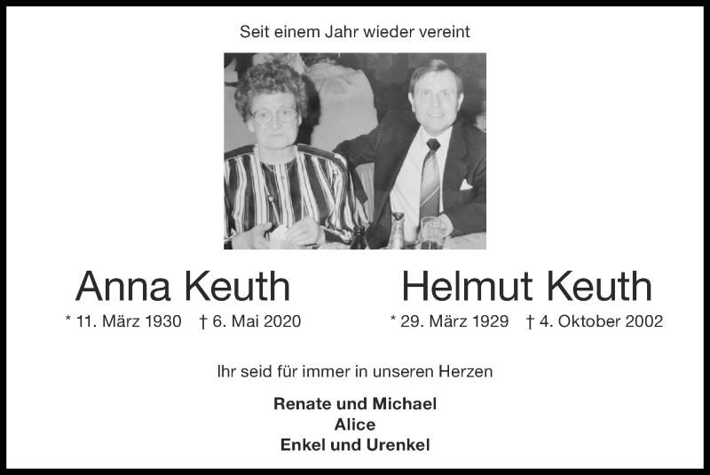 Traueranzeige für Anna Keuth vom 09.05.2021 aus Zeitung am Sonntag
