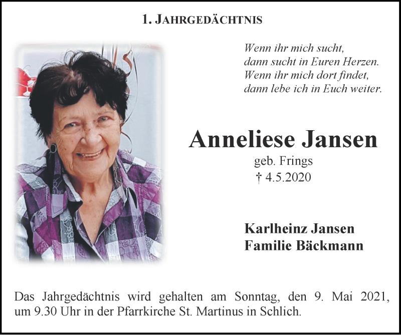 Traueranzeige für Anneliese Jansen vom 02.05.2021 aus Zeitung am Sonntag