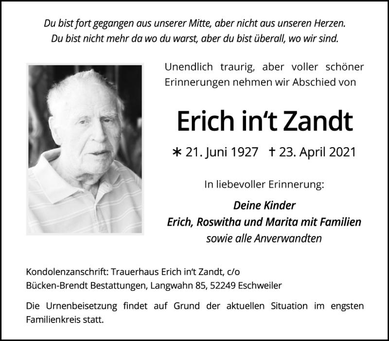 Traueranzeige für Erich in't Zandt vom 02.05.2021 aus Zeitung am Sonntag