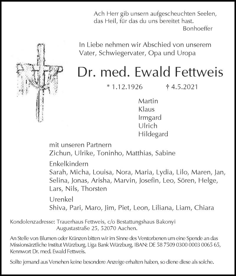 Traueranzeige für Ewald Fettweis vom 09.05.2021 aus Zeitung am Sonntag