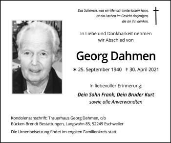 Traueranzeige von Georg Dahmen von Zeitung am Sonntag