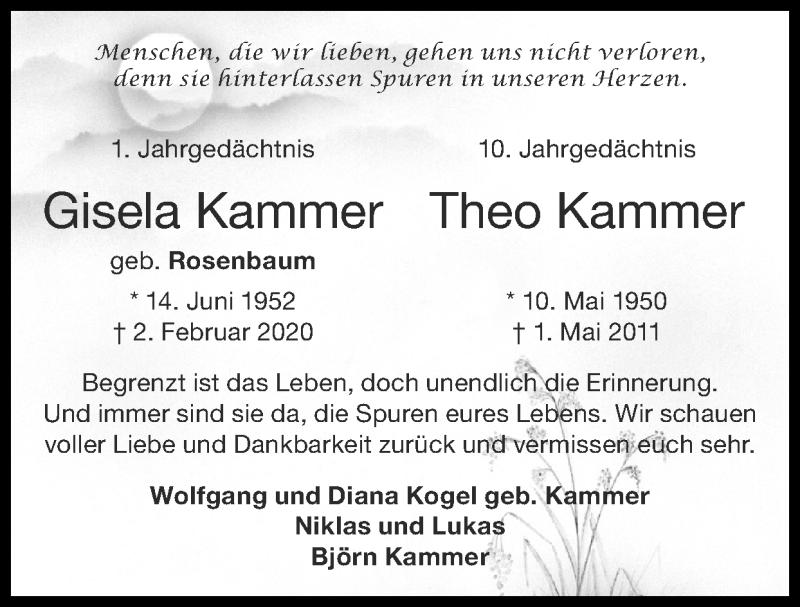 Traueranzeige für Gisela Kammer vom 02.05.2021 aus Zeitung am Sonntag