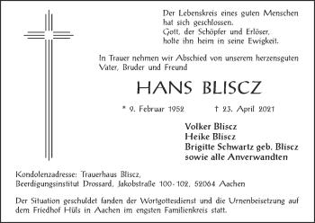 Traueranzeige von Hans Bliscz von Zeitung am Sonntag