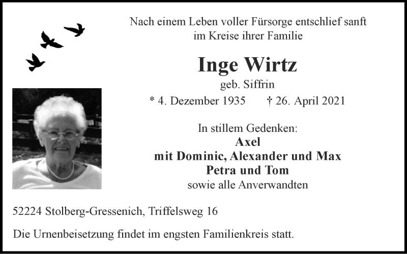 Traueranzeige für Inge Wirtz vom 02.05.2021 aus Zeitung am Sonntag