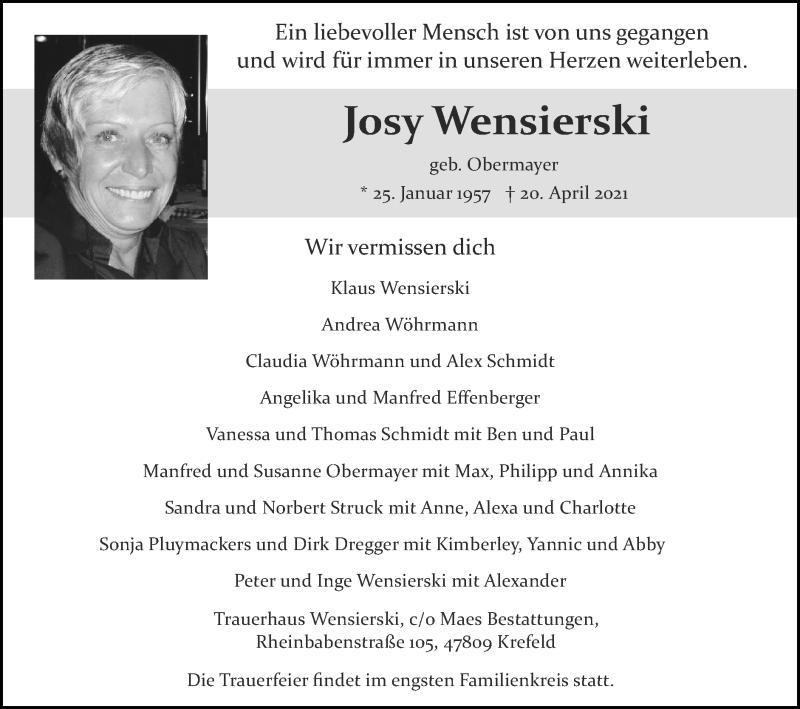 Traueranzeige für Josy Wensierski vom 02.05.2021 aus Zeitung am Sonntag