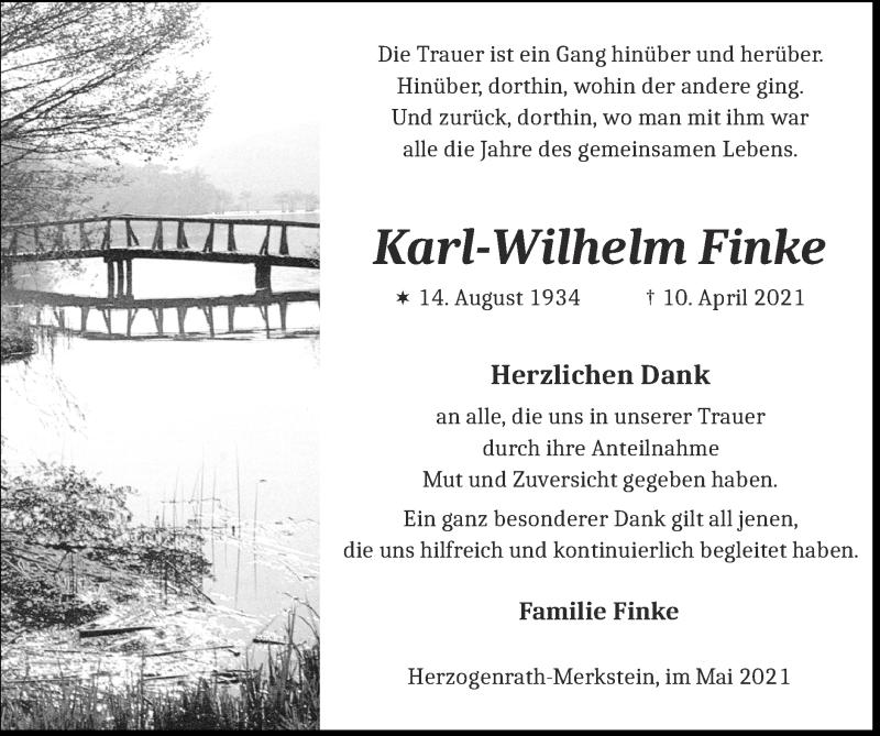 Traueranzeige für Karl-Wilhelm Finke vom 09.05.2021 aus Zeitung am Sonntag