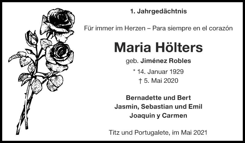Traueranzeige für Maria Hölters vom 09.05.2021 aus Zeitung am Sonntag