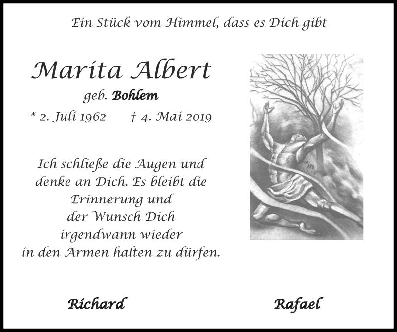 Traueranzeige für Marita Albert vom 02.05.2021 aus Zeitung am Sonntag