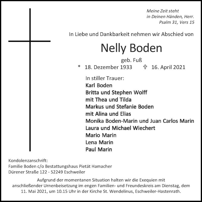 Traueranzeige für Nelly Boden vom 02.05.2021 aus Zeitung am Sonntag